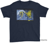 NINJA SURFER FEATURE PRESENTATION SHIRT YOUTH on Blue