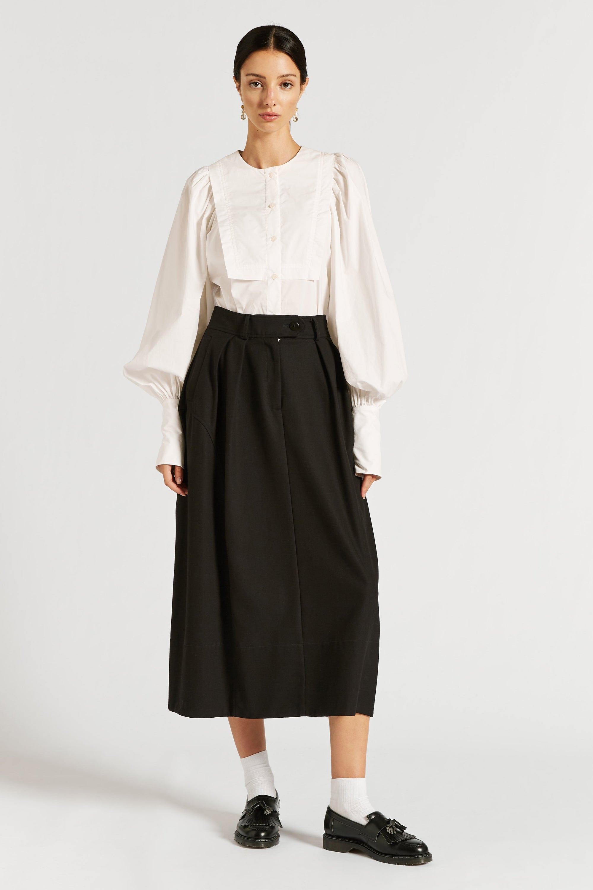 Spencer Pleat Front Cocoon Skirt