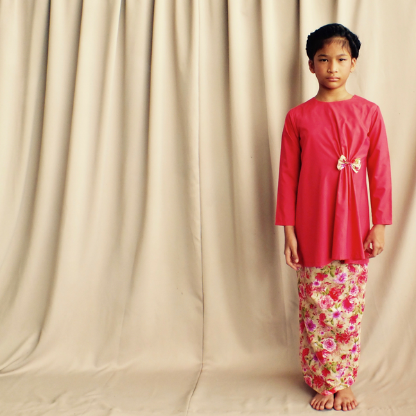 Anis Modern Kurung for Girls in Floral Red