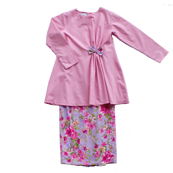 Anis Modern Kurung for Girls in Lavender Floral