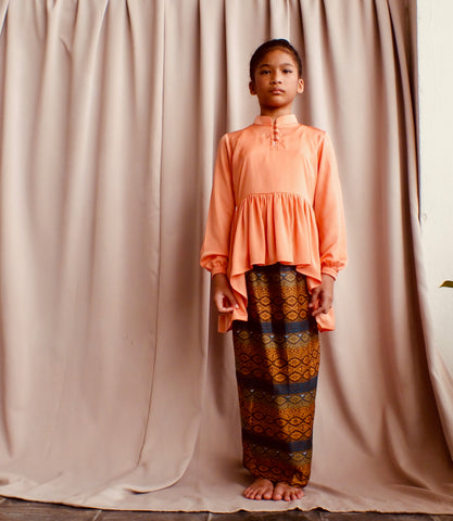 Kasturi Peplum for Girls in Peach & Orange