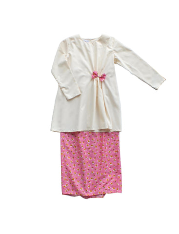 Anis Modern Kurung for Girls in Cream & Pink