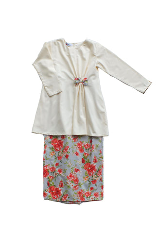Anis Modern Kurung for Girls in Cream & Grey