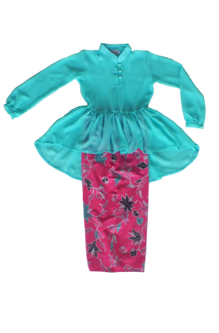 Kasturi Peplum for Girls in Turquoise & Batik