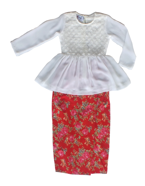 Dhia Peplum Lace Kurung in White & Red Florals