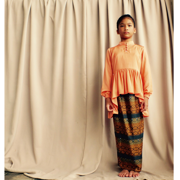 Kasturi Peplum for Girls in Peach & Sunset