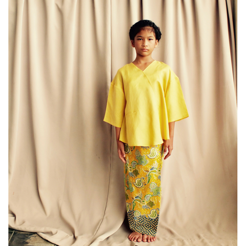 Kenari Dropped Shoulder Set for Girls in Yellow & Batik