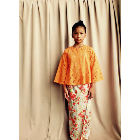 Nuri Stylised Kedah for Girls in Tangerine & Grey