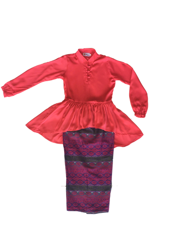 Kasturi Peplum for Girls in Red with Blue Red Songket