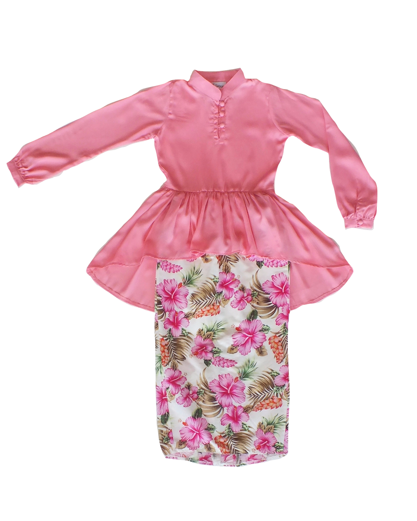 Kasturi Peplum for Girls in Soft Floral Pink