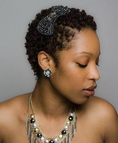 twa style with accessories short natural hair care