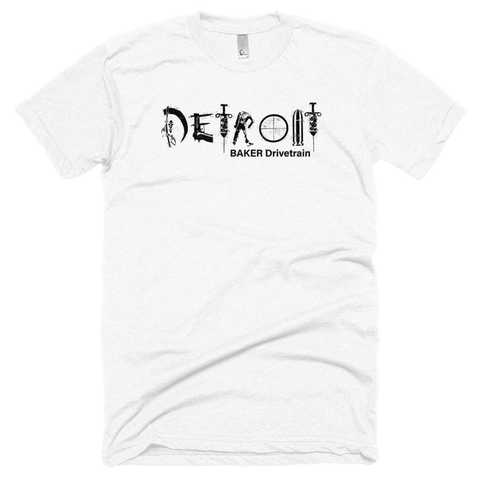 "BAKER Drivetrain ""Detroit"" White Short Sleeve Soft T-Shirt"