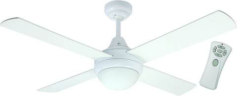 Glendale 1200 Ceiling Fan with Light and Remote - White by Mercator from Harvey Norman Lighting - 1