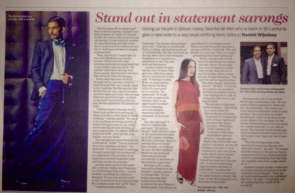 Standout in Statement Sarongs - Sunday Times Coverage