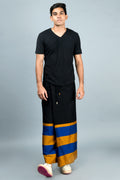 Rugby Sarong. Black With Blue & Gold Stripes