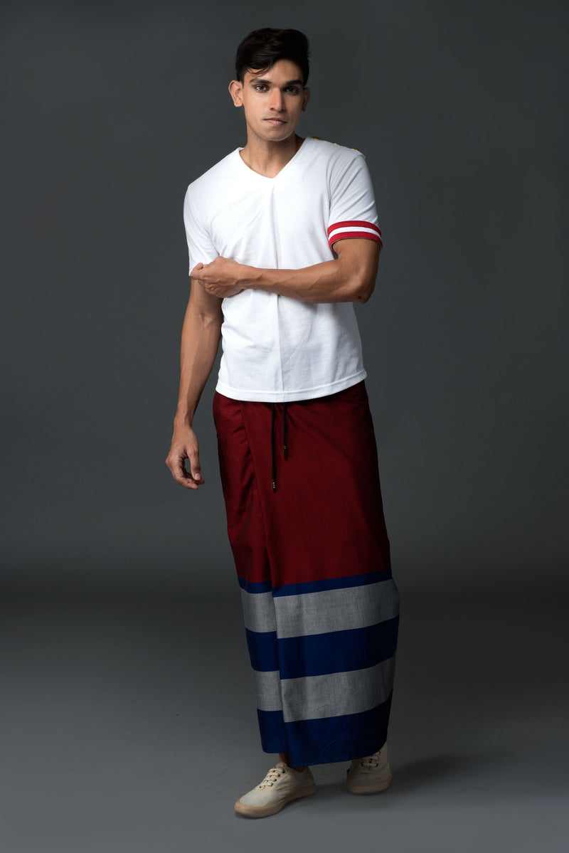 Rugby Sarong. Red With Blue & Silver Stripes