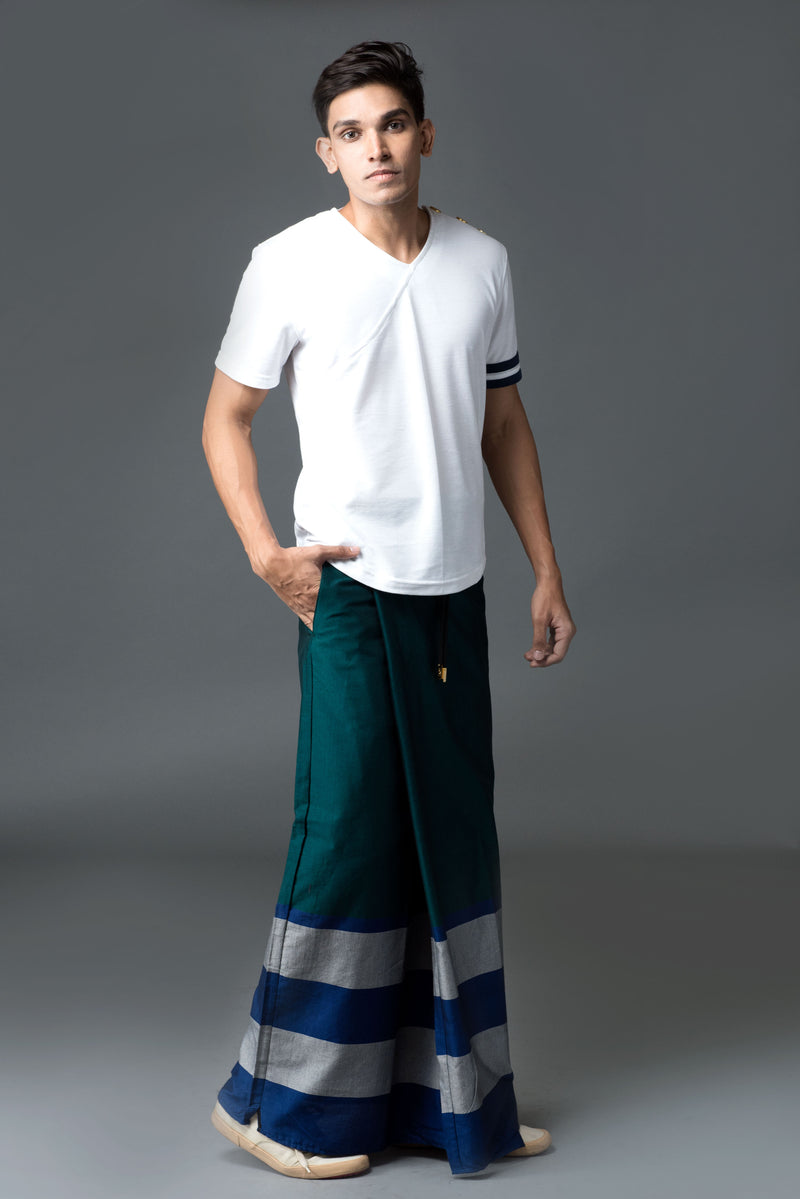 Rugby Sarong. Emerald With Blue & Silver Stripes