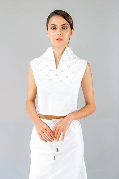 Crown Embroidery Tuxedo Top