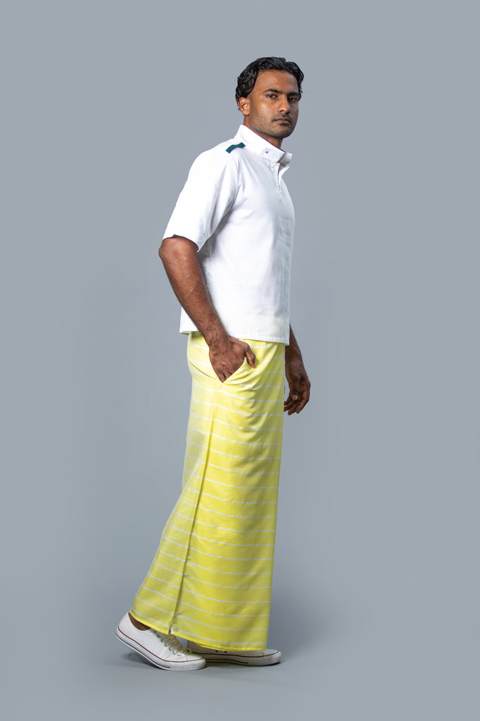 Classic Nautical Sarong Pastel Yellow With White Lines
