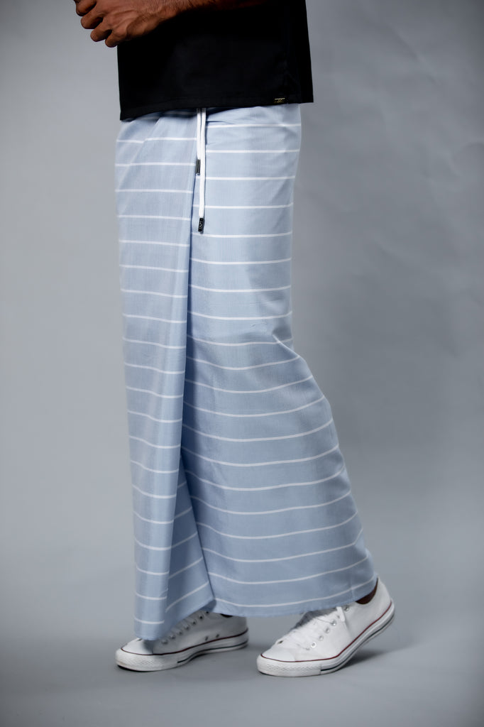 Classic Nautical Sarong Pastel Blue With White Lines