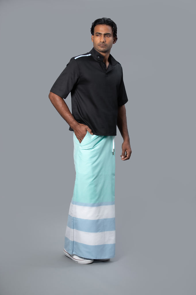 Rugby Sarong. Pastel Green With Pastel Blue & White Stripes