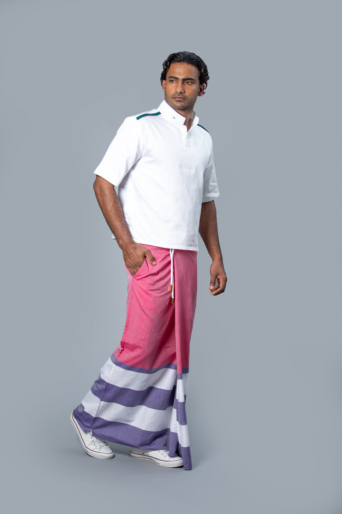 Rugby Sarong. Dark Pink With Pastel Purple & White Stripes