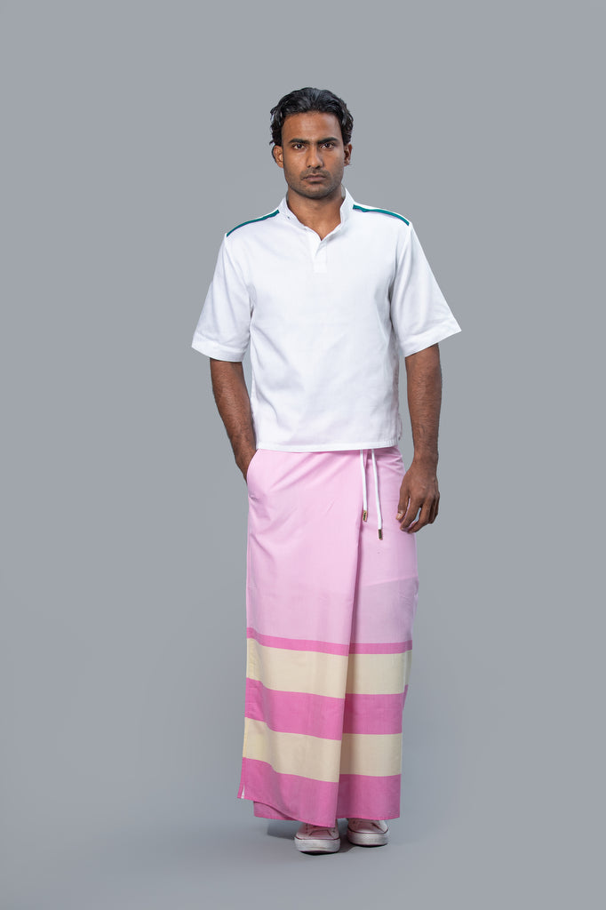 Rugby Sarong. Pastel Pink With Dark Pink & Pastel Yellow Stripes