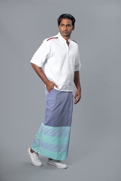 Rugby Sarong. Pastel Purple With Pastel Blue & Pastel Green Stripes