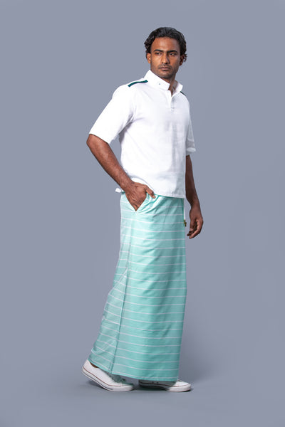 Classic Nautical Sarong Pastel Green With White Lines