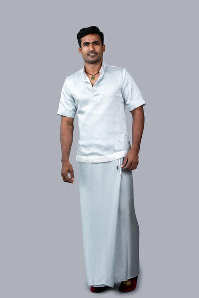 Two Tone, Short-Sleeves Silk Sri Lankan National