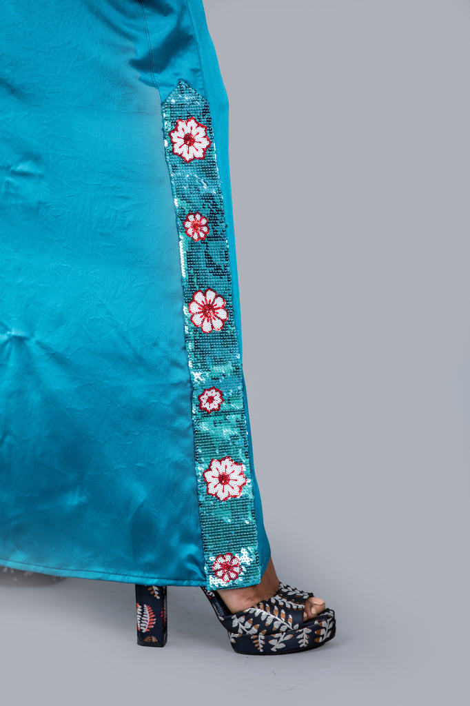 Sequin Floral Worked Silk Sri Lankan National Sarong