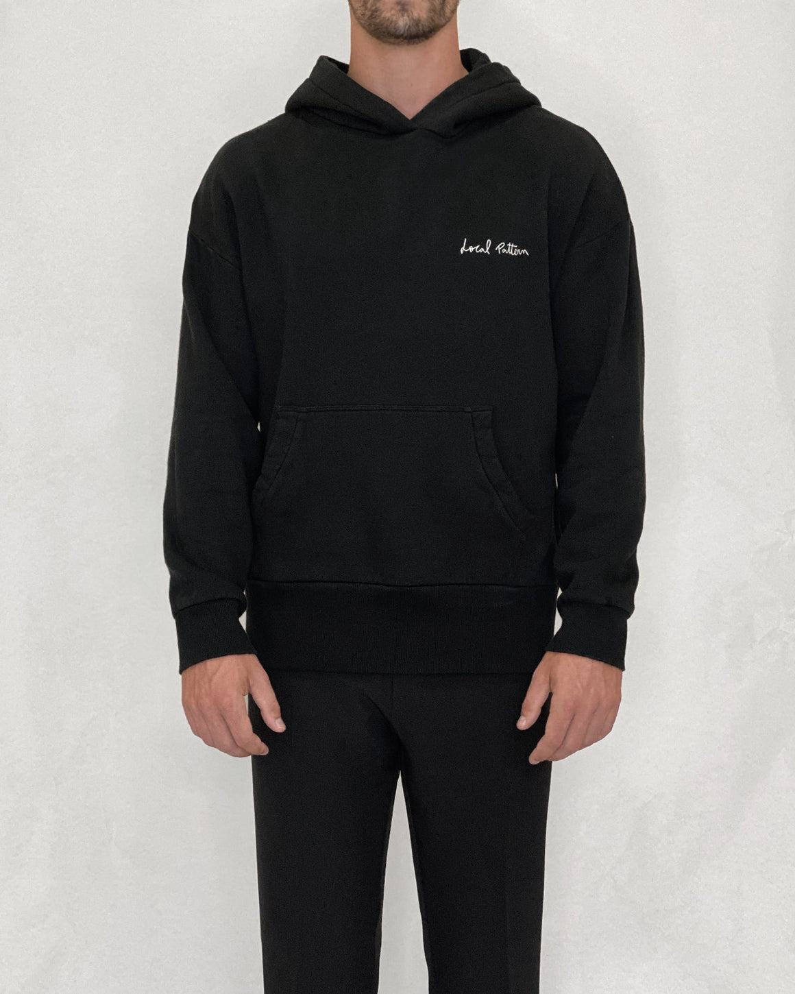 Marc Local Pattern Embroidered Hoodie Black - Local Pattern
