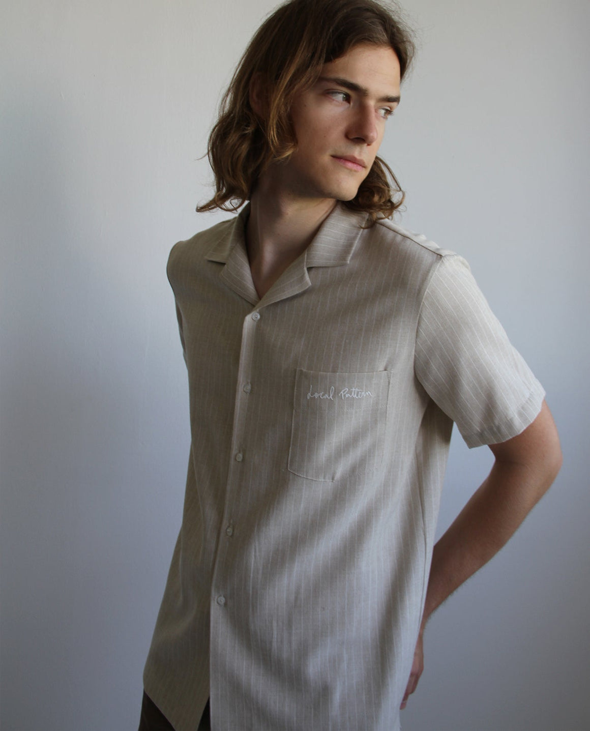 Striped Linen Shirt with embroidered pocket