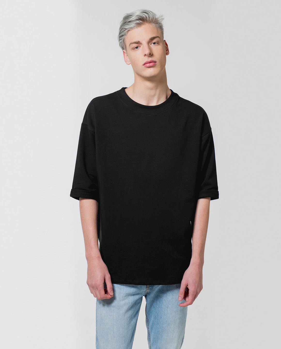 Sweatshirt with Rolled Sleeves Black