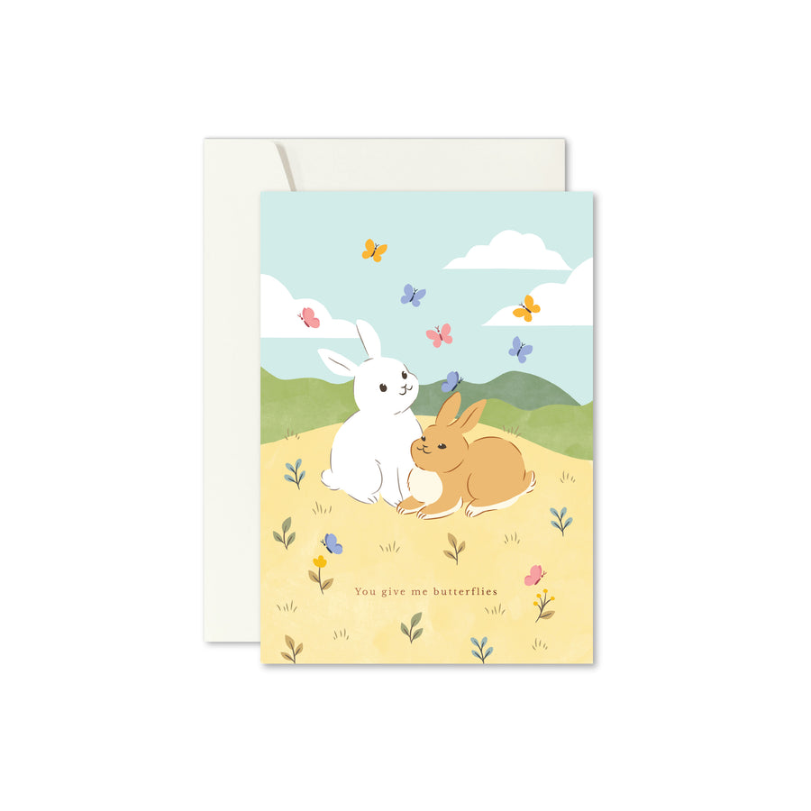 Butterflies & Bunnies Greeting Card