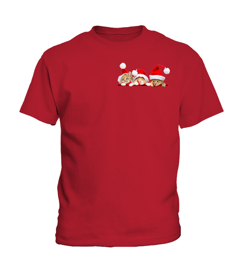 Christmas Youth Kid Shirt- 3 CHRISTMAS CATS IN THE POCKET - Youth Kid T Shirt - SSID2016