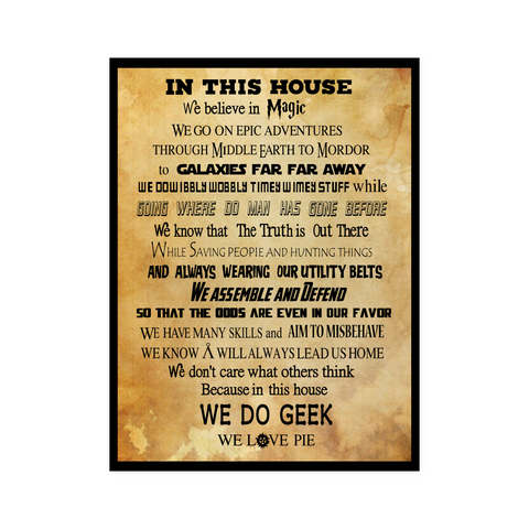 Harry Potter- IN THIS HOUSE WE DO GEEK -Poster 18x24
