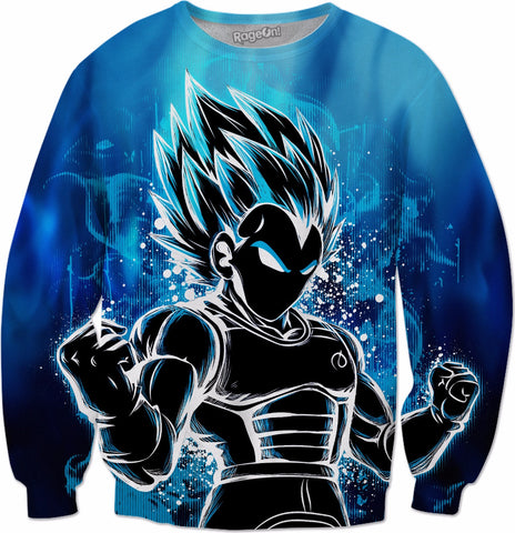 Super Saiyan - Super Saiyan Vegeta God Blue - All Over Print Sweatshirt - RO00957AS