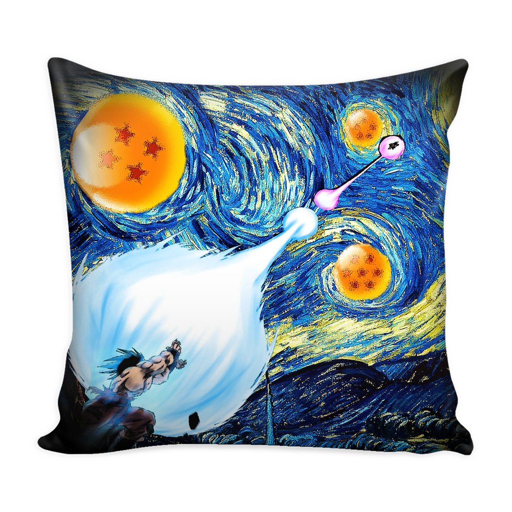 Super Saiyan - Goku Kamehameha vs Vegeta Galick gun Van Gogh style - Pillow Cover - TL00822PL