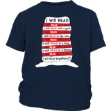 Book Youth Shirt- I WILL READ ANYWHERE -District Youth Shirt - TL01798YS