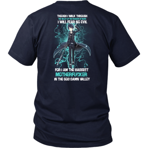 SAO- Kirito I will fear no Evil -Men Short Sleeve T Shirt - TL01664SS- BACK