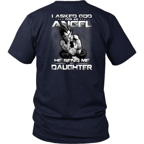 Super saiyan vegeta -  i asked god for an angel he sent me my daughter - Short Sleeve T Shirt -TL01640SS