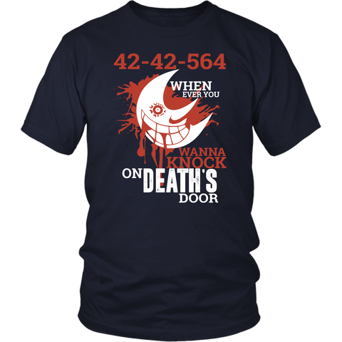 Soul Eater - 42 42 564 when ever you wanna knock on deaths door -Men Short Sleeve T Shirt - TL01479SS