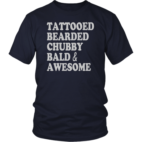 Beards - Tattooed bearded chubby bald and awesome -Men Short Sleeve T Shirt - TL01634SS