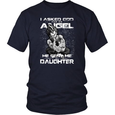 Super saiyan vegeta -  i asked god for an angel he sent me my daughter - Short Sleeve T Shirt -TL01640SS-front