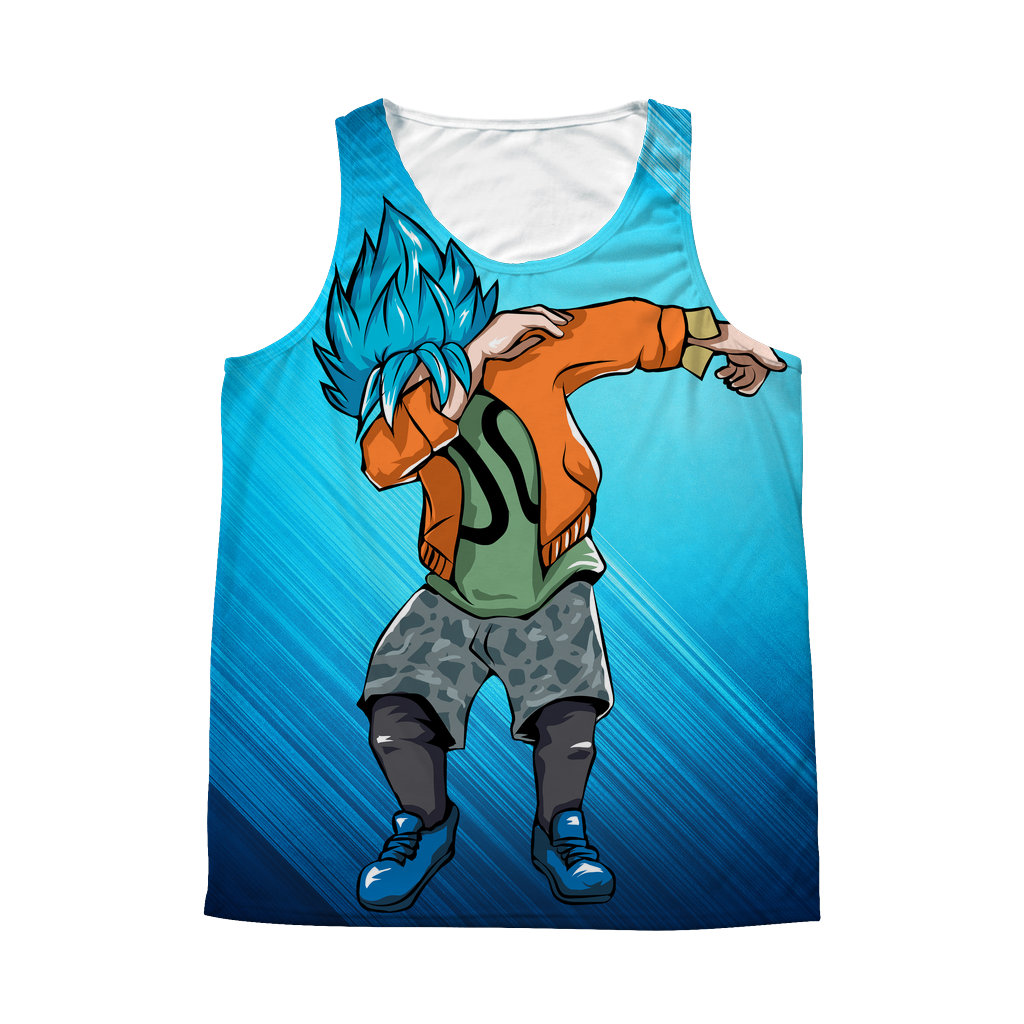 Super Saiyan - Goku SSj God Blue DAB Dance - 1 Sided 3D tank top t shirt Tank - TL00974AT