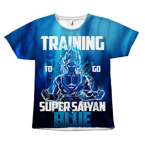 Super Saiyan - Goku Training to go super saiyan god blue - All Over Print T Shirt - TL00943AO