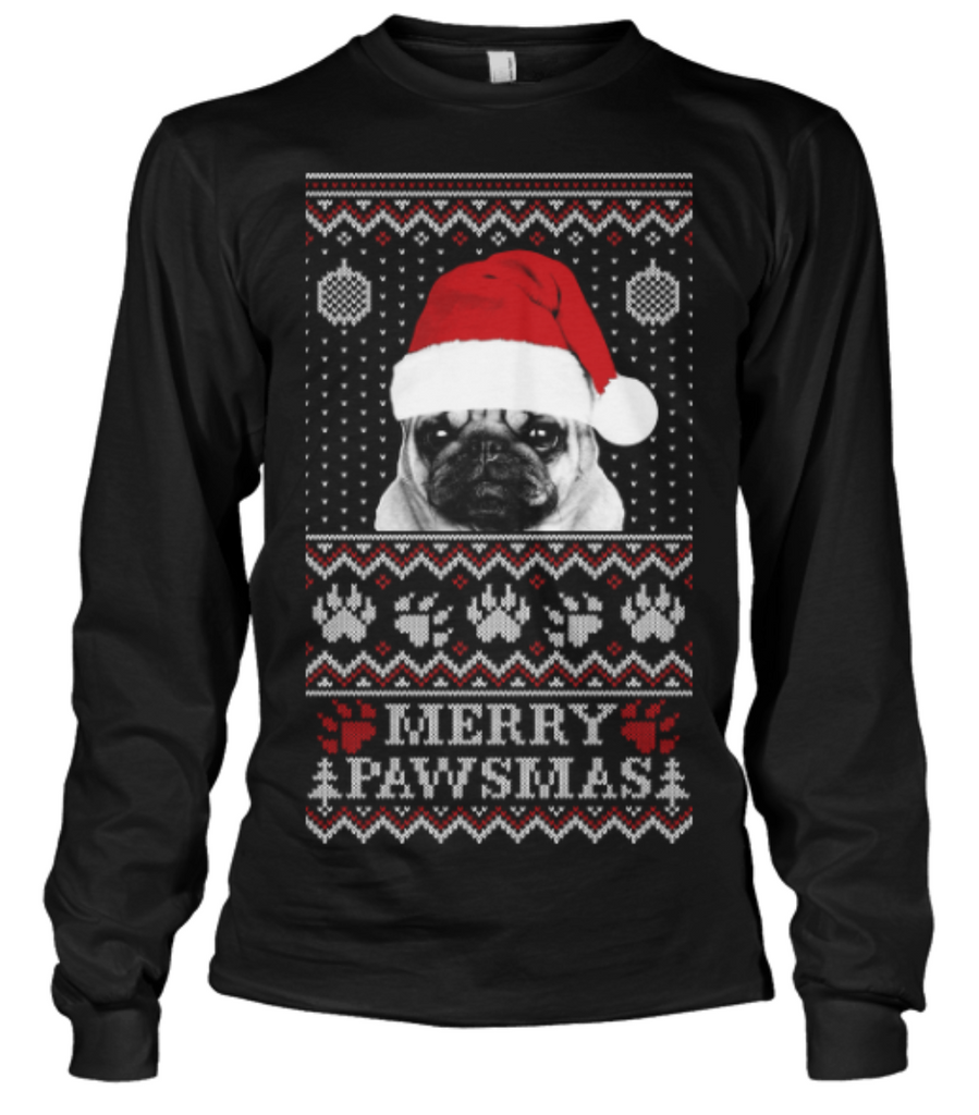 Christmas Long Sleeve- MERRY PAWSMAS  -Unisex  Long  Sleeve - The TShirt Collection