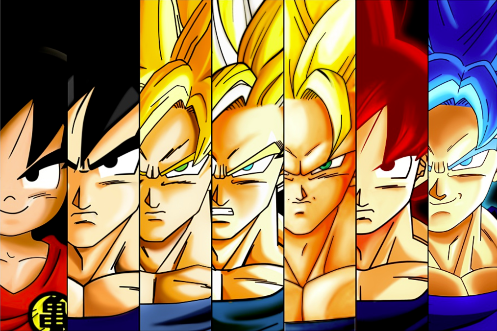 Super Saiyan Goku Transformation Evolution Poster 18x24