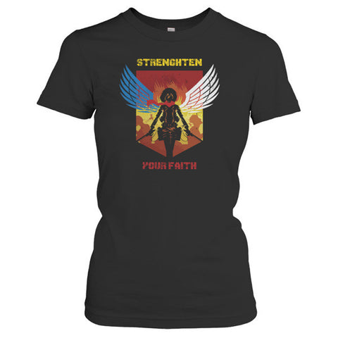Attack on titan - STRENGHTEN YOUR FAITH - Woman Short Sleeve T Shirt - SSID2016